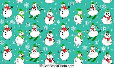 snowmen, modèle, snowflakes., bonhomme de neige, skis, hiver