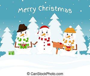 snowmen, trois, mignon
