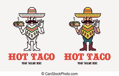 sobmrero, moustache, mexicain, tacos., rigolote, sert, vecteur, délicieux, chaud, homme