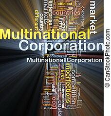 société multinationale, incandescent, concept, fond