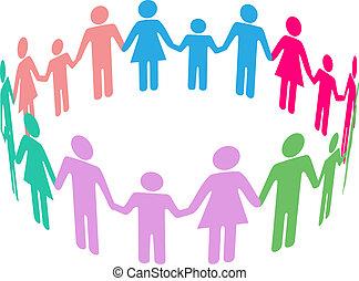 social, diversité, famille, communauté, gens