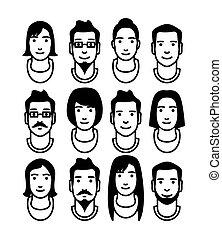 social, ensemble, réseau, avatar