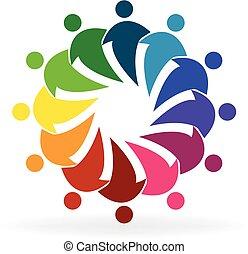 social, logo, gens, média