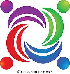 social, logo, vecteur, collaboration, média