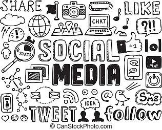 social, média, éléments, doodles