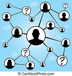 social, média, amis, diagramme