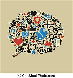 social, média, bulle discours, plat