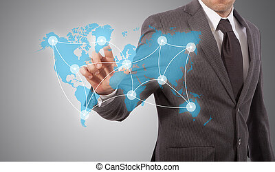 social, pousser, réseau, icône