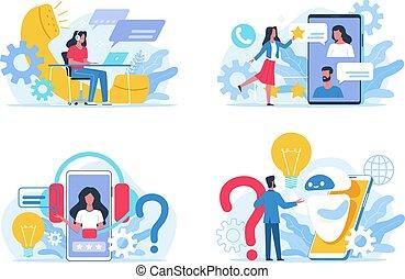 social, répondre, clients, réaction, ligne, ensemble, centre, soutien, concept., client, acheteurs, questions., vecteur, faq, comments., appeler, bavarder, utilisateurs, round-the-clock, assistance., service.