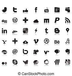 social, réseau, icônes
