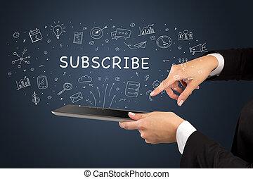 social, touchscreen, gros plan, média, concept