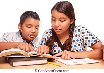 soeur, étudier, frère, hispanique, amusement, avoir