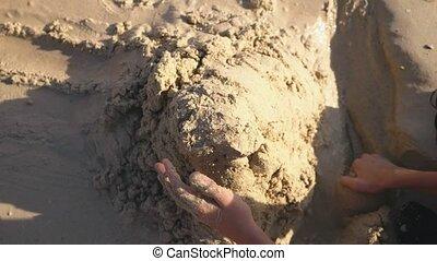 soeur, ados, frère, exotique, sable, confection, plage château