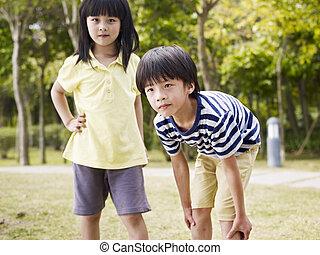 soeur, asiatique, frère