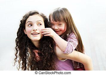 soeur, petite fille, heureux