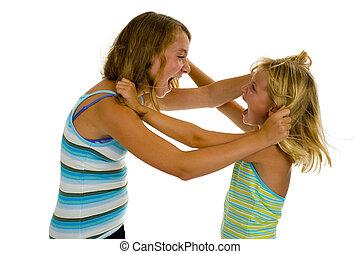 soeurs, deux, combat