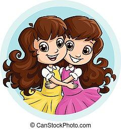 soeurs, girl, étreindre, heureux