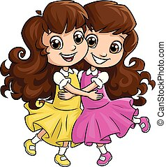 soeurs, girl, 2, étreindre, heureux