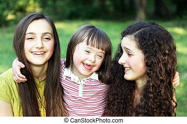 soeurs, petite fille, heureux