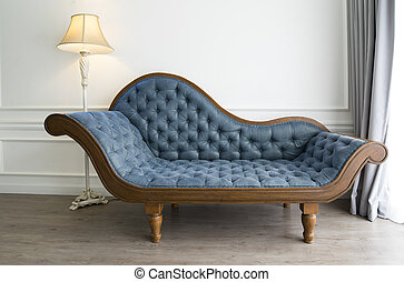 sofa bleu, regard, luxueux