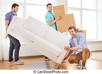 sofa, boîtes, carton, amis, sourire