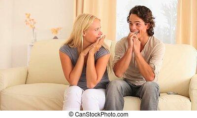 sofa, couple, excité, séance