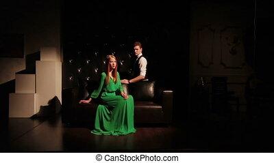 sofa, couple, mode, jeune, séduisant