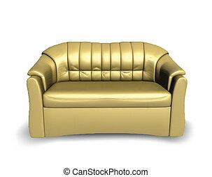 sofa, doré, vecteur