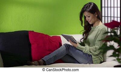 sofa, girl, informatique, asiatique