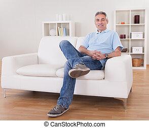 sofa, homme, mûrir, séance