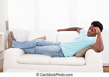 sofa, paresseux, dehors, refroidir, homme