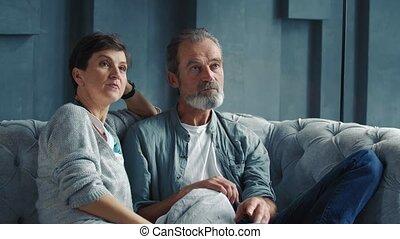 sofa, séance, couple, vieilli