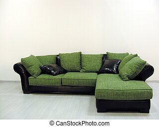 sofa, vert