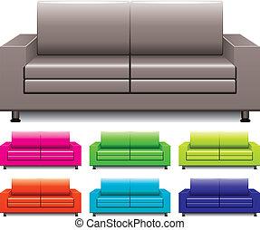 sofas, vecteur, ensemble, coloré