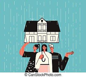 soi, concept., groupe, aide, santé, sous, quarantined, day., isolement, parapluie, concept, trois, soutien, formulaire, isolement, mental, maison, illustration, hose., pluvieux, famille