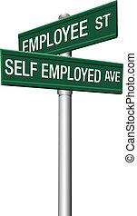 soi, signes rue, employé, employé, ou