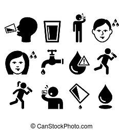 soif, gens, bouche, assoiffé, sec, boire, homme, eau, icônes, ensemble