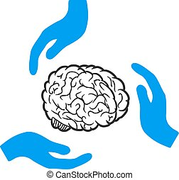 soin, cerveau, vecteur, icône, mains