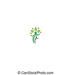 soin, gens, arbre, logo