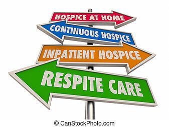 soin, illustration, niveaux, répit, 3d, hospice, continu, inpatient, signes, maison, étapes