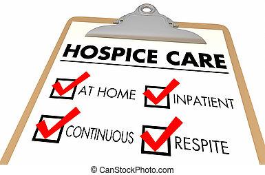 soin, liste contrôle, illustration, niveaux, répit, 3d, continu, inpatient, hospice, maison, étapes