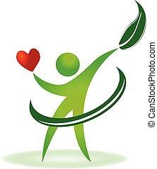 soin, logo, santé, coeur, nature