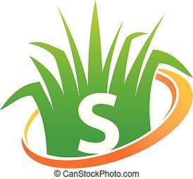 soin pelouse, initiale, centre, s