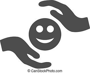 soin, sourire, mains, plat, icône