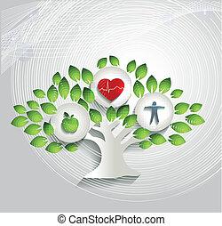 soin, symboles, concept, santé, humain, arbre, sain