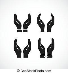 soin, vecteur, icône, mains