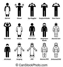soins médicaux personnels, monde médical, cliparts., équipement, ppe, protection, engrenages