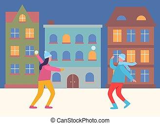 soir, boule de neige, gens, ville, jouer, baston