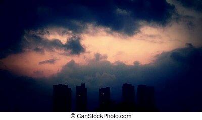 soir, ciel, nuages, couverture, sombre