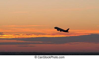 soir, fermé, prendre, ciel, contre, avion